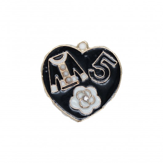 Charms Cuore Simboli Nero 28mm