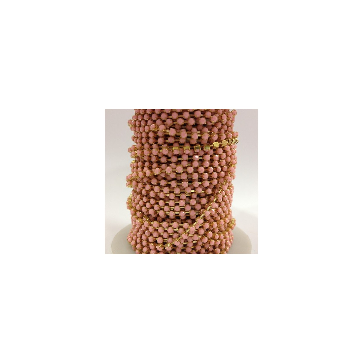 Catena con Strass in Resina 3mm Rose Alabaster