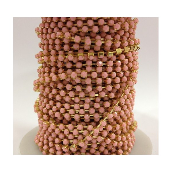 Catena con Strass in Resina 3mm Rose Alabaster