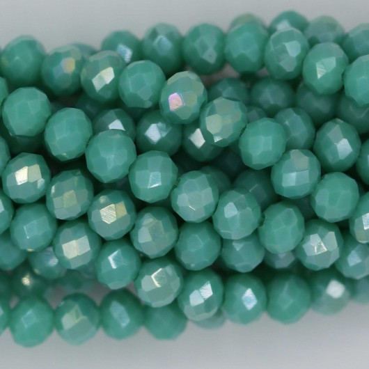 Rondelle in Cristallo Sfaccettato 4x3mm FLASH GREEN