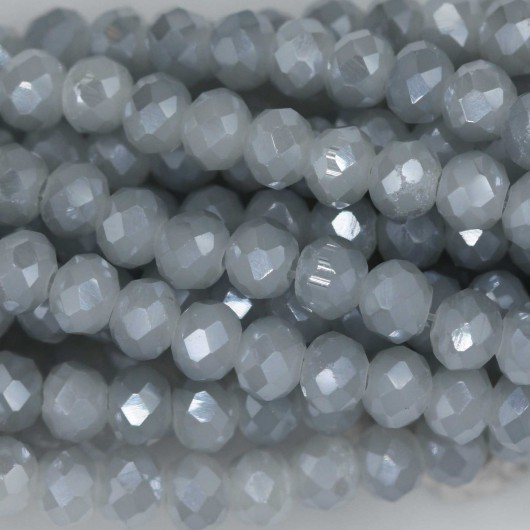 Fire Polished faceted flat round 4x3mm FLASH GREY OPAL