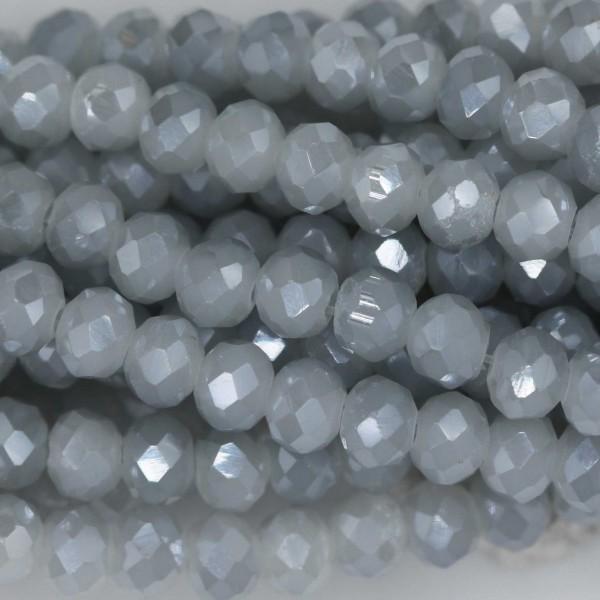 Rondelle in Cristallo Sfaccettato 4x3mm FLASH GREY OPAL