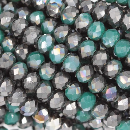 Rondelle in Cristallo Sfaccettato 4x3mm FLASH OPAL GREEN