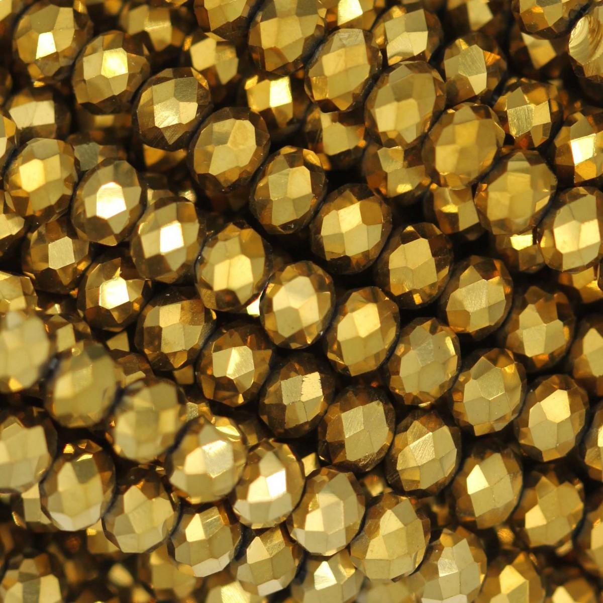 Rondelle in Cristallo Sfaccettato 4x3mm FULL GOLD