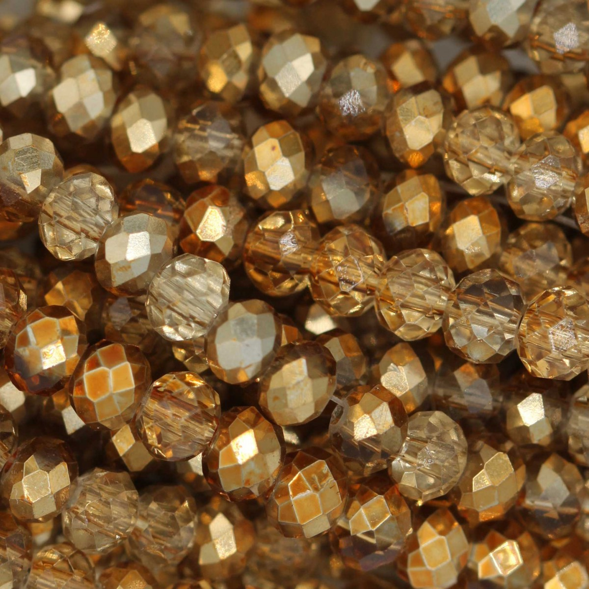 Rondelle in Cristallo Sfaccettato 4x3mm HALF GOLD