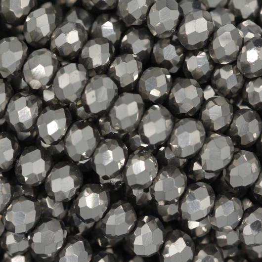 Fire Polished faceted flat round 4x3mm  HEMATITE 2X