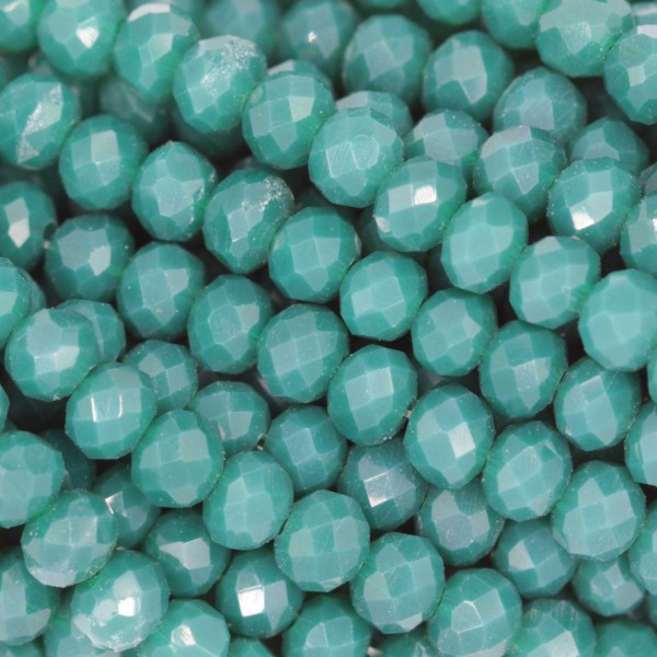 Fire Polished faceted flat round 4x3mm  JADE