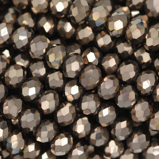 Fire Polished faceted flat round 4x3mm  LIGHT GOLD 2X