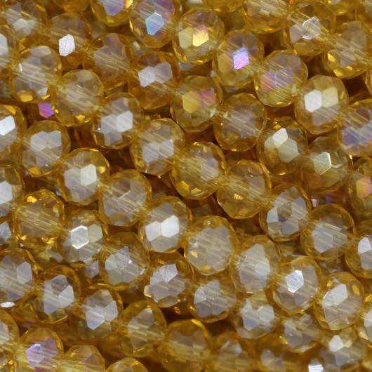 Fire Polished faceted flat round 4x3mm  OCHER AB