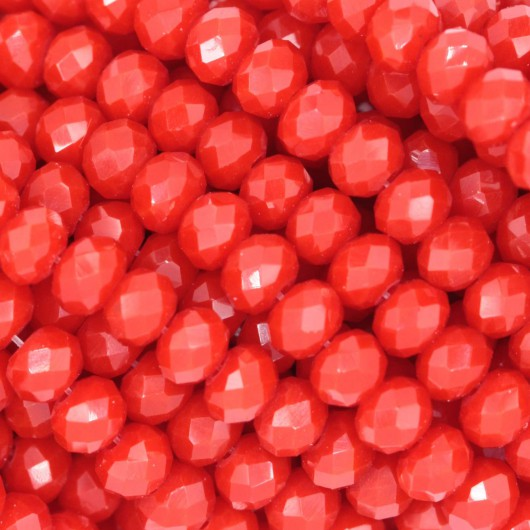 Fire Polished faceted flat round 4x3mm  OPAL RED