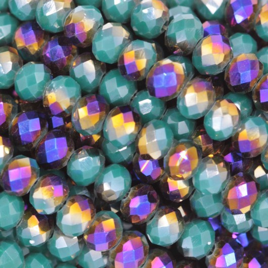 Rondelle in Cristallo Sfaccettato 4x3mm RAINBOW GREEN