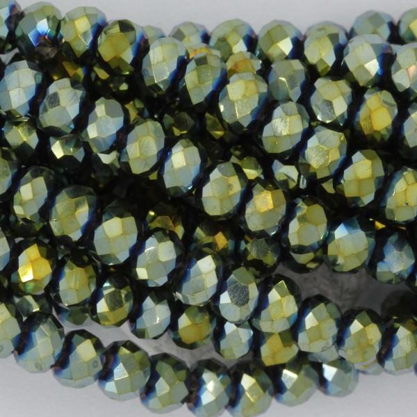 Rondelle in Cristallo Sfaccettato 4x3mm SCARABEUS GOLD
