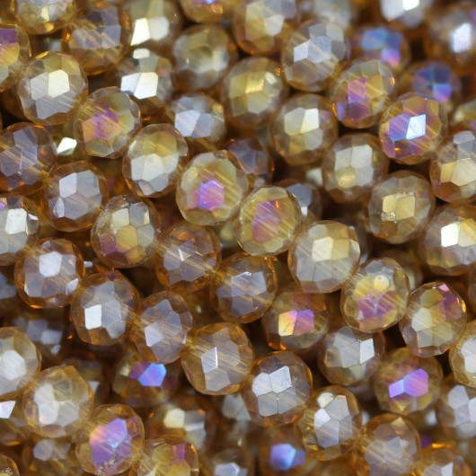 Fire Polished faceted flat round 4x3mm  TOPAZ AB