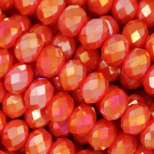 Fire Polished faceted flat round 6x4mm CORAL