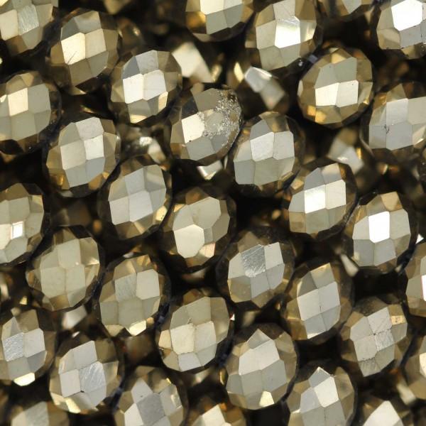 Rondelle in Cristallo Sfaccettato 6x4mm  GOLD 2X