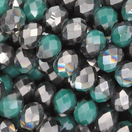 Fire Polished faceted flat round 6x4mm GREEN METAL