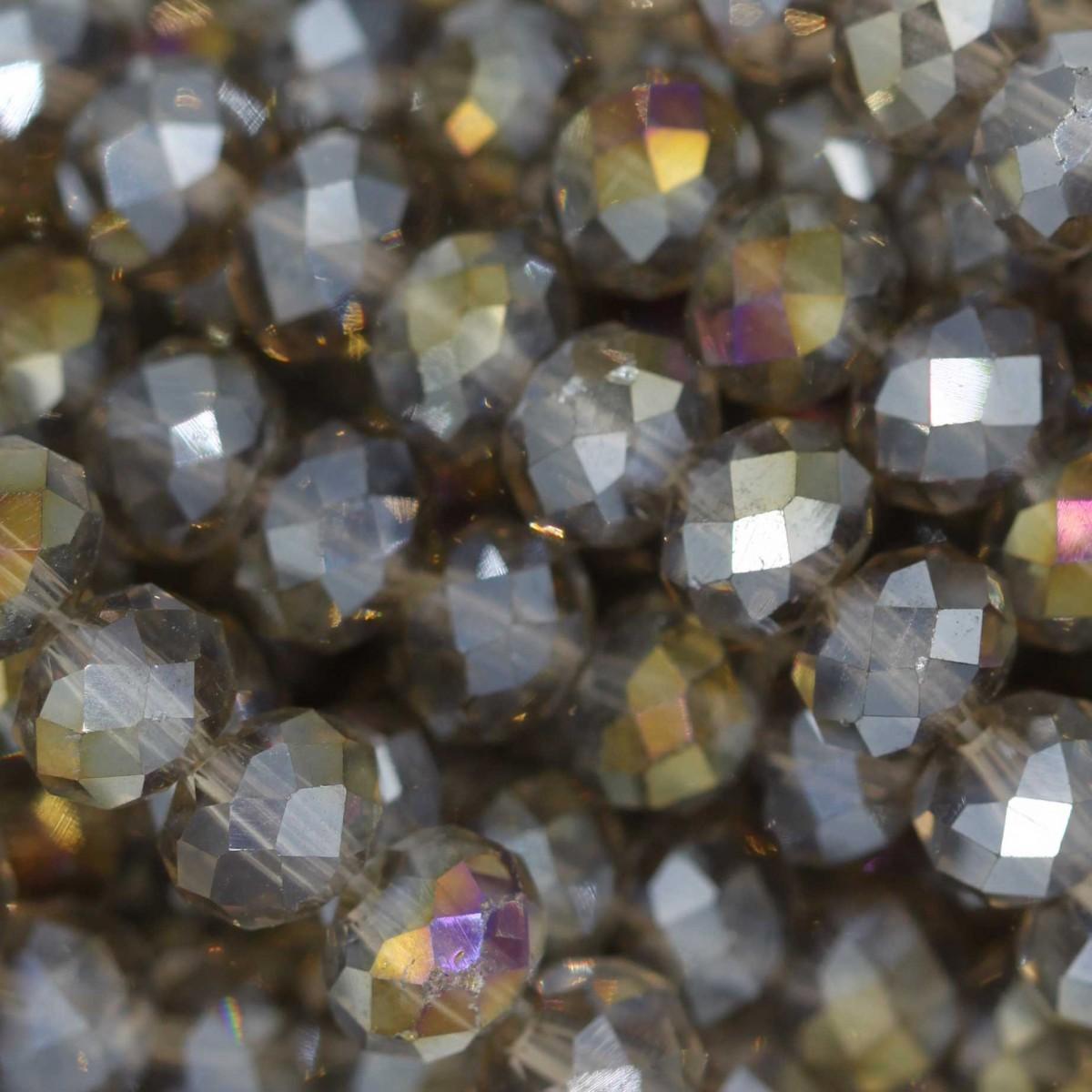 Rondelle in Cristallo Sfaccettato 6x4mm GREIGE GOLD