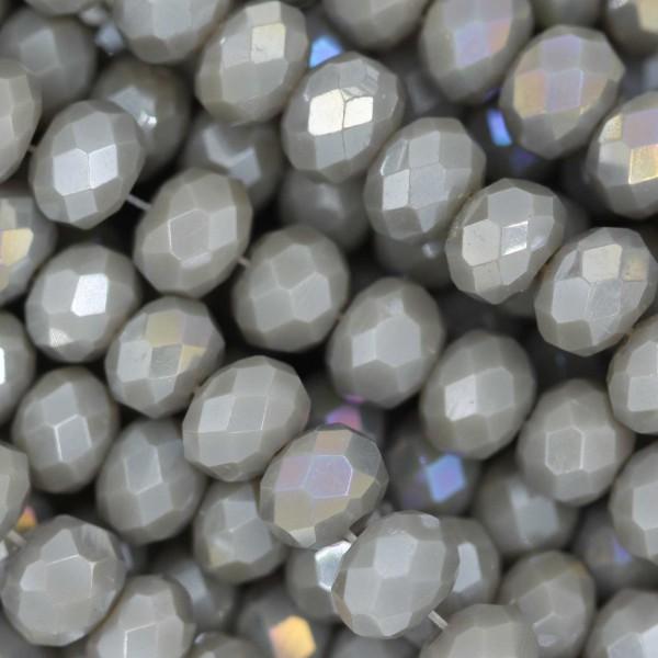 Rondelle in Cristallo Sfaccettato 6x4mm GREY OPAL AB