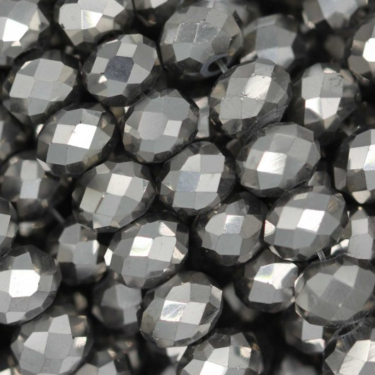 Fire Polished faceted flat round 6x4mm HEMATITE 2X