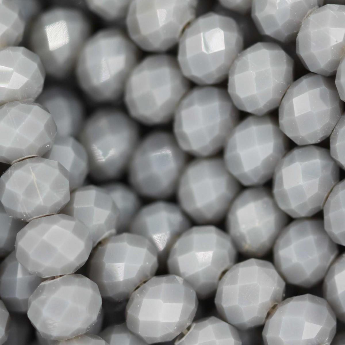 Rondelle in Cristallo Sfaccettato 6x4mm LIGHT GREY OPAL