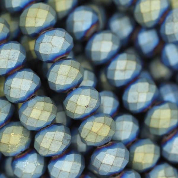 Rondelle in Cristallo Sfaccettato 6x4mm METAL BLUE