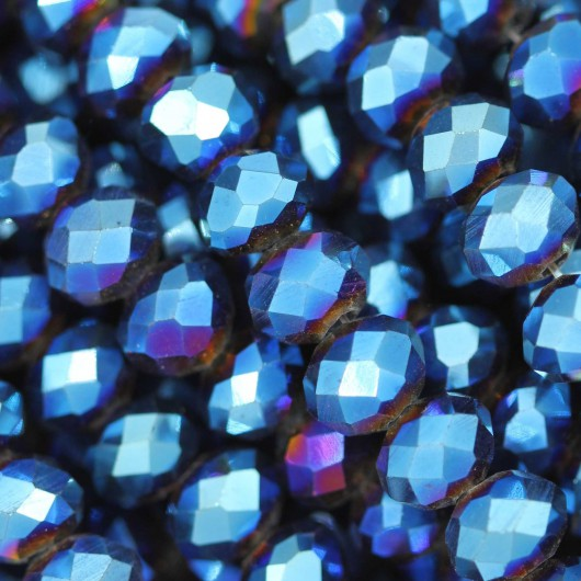 Fire Polished faceted flat round 6x4mm METALLIC BLUE