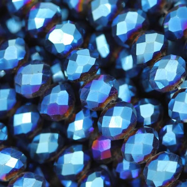 Rondelle in Cristallo Sfaccettato 6x4mm METALLIC BLUE