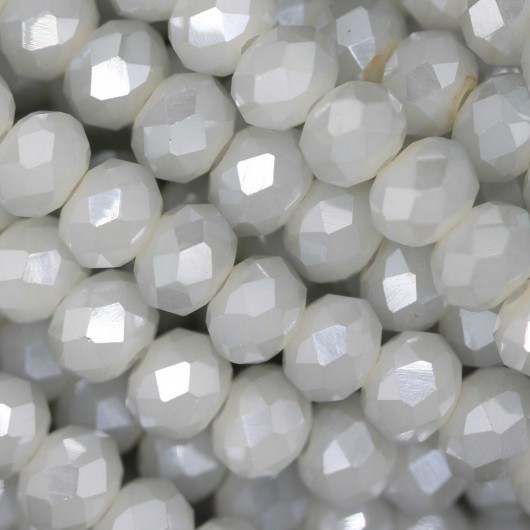 Fire Polished faceted flat round 6x4mm PLASTER FLASH