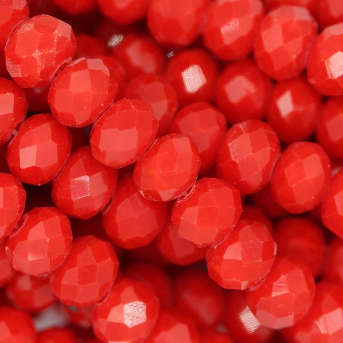 Rondelle in Cristallo Sfaccettato 6x4mm RED OPAL