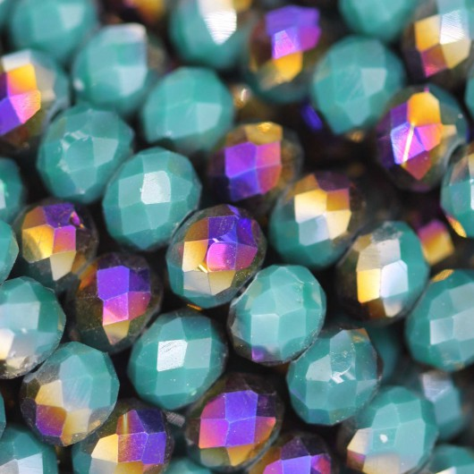 Fire Polished faceted flat round 6x4mm SCARABEUS GREEN
