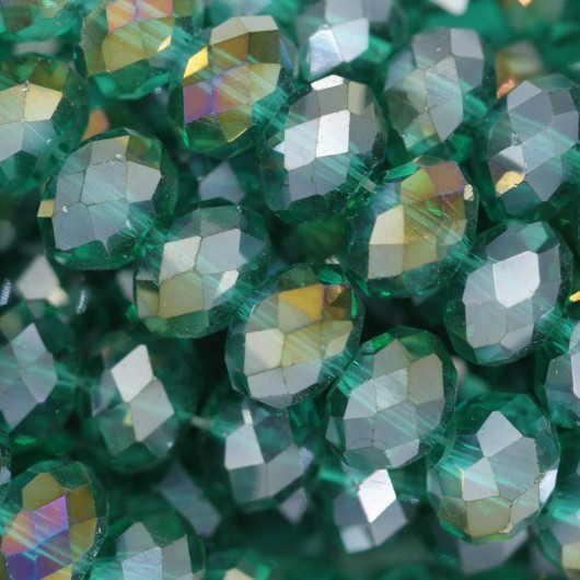 Fire Polished faceted flat round 8x6mm EMERALD AB