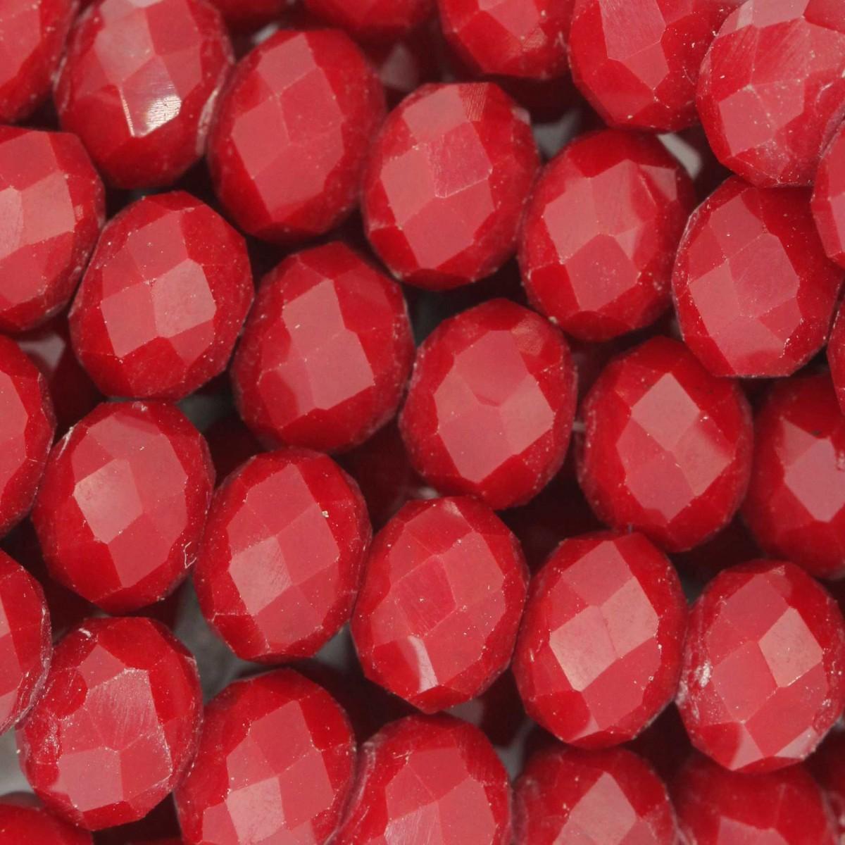 Rondelle in Cristallo Sfaccettato 8x6mm RED OPAL