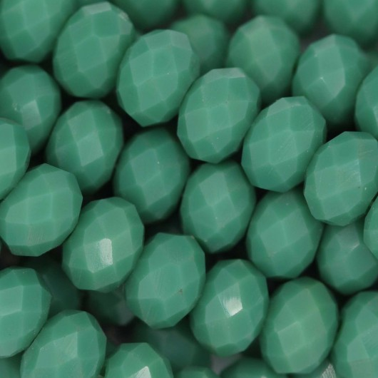 Fire Polished faceted flat round 8x6mm SAGE GREEN