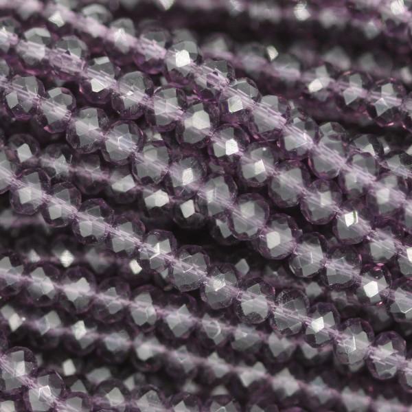 Rondelle in Cristallo Sfaccettato 3x2,5mm AMETHYST