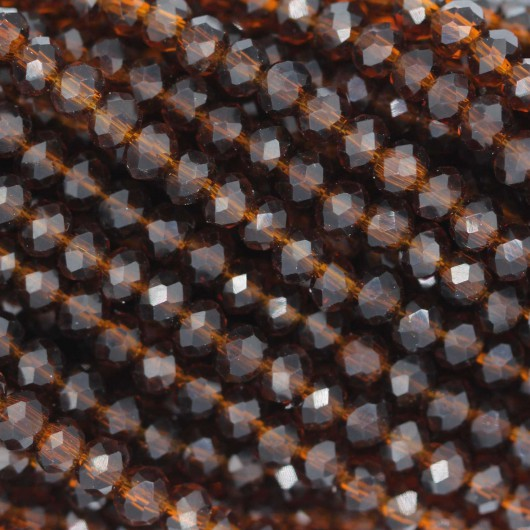 Fire Polished faceted flat round 3x2,5mm BROWN