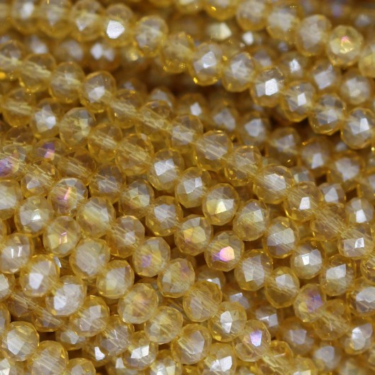 Rondelle in Cristallo Sfaccettato 3x2,5mm DARK YELLOW AB