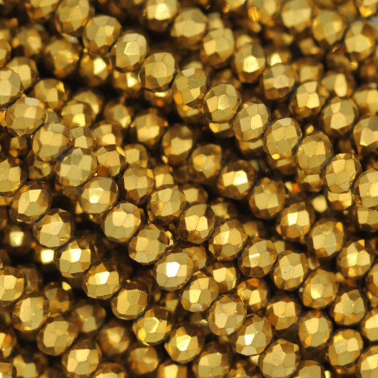 Fire Polished faceted flat round 3x2,5mm GOLD 2X