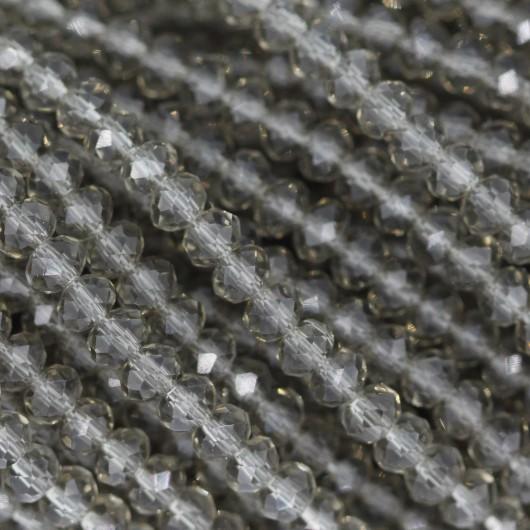 Rondelle in Cristallo Sfaccettato 3x2,5mm GREIGE