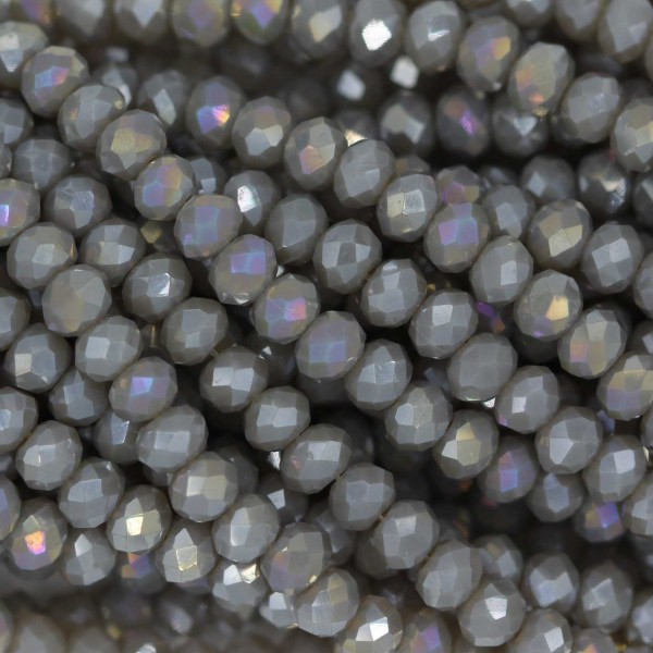 Rondelle in Cristallo Sfaccettato 3x2,5mm GREY OPAL