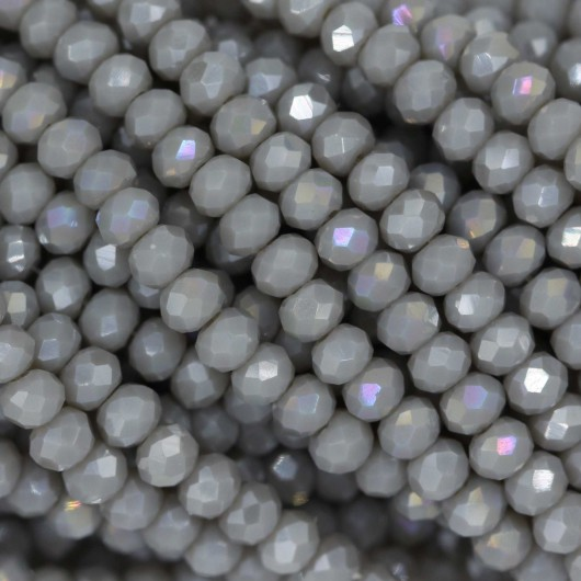 Fire Polished faceted flat round 3x2,5mm GREY OPAL AB
