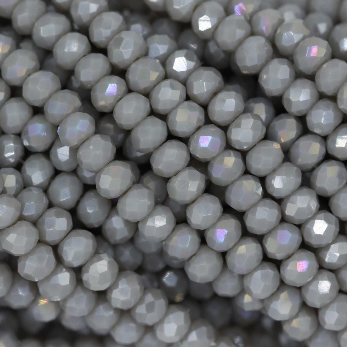 Rondelle in Cristallo Sfaccettato 3x2,5mm GREY OPAL AB