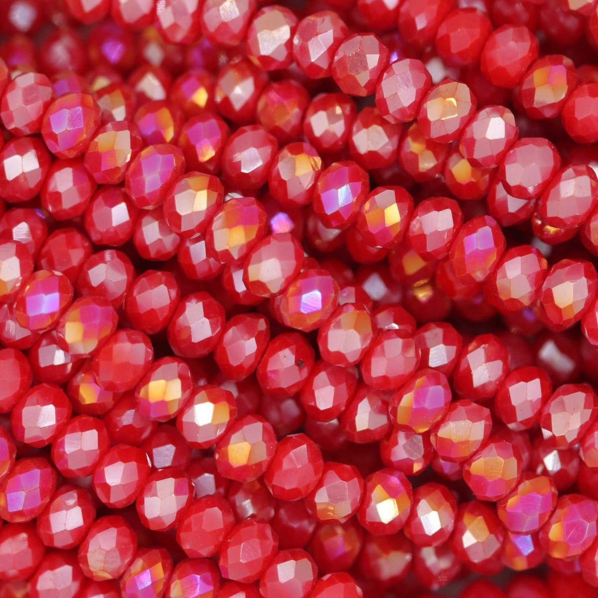 Rondelle in Cristallo Sfaccettato 3x2,5mm RED OPAL AB