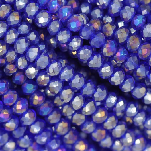Rondelle in Cristallo Sfaccettato 3x2,5mm ROYAL BLUE AB