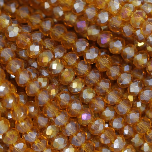 Fire Polished faceted flat round 3x2,5mm TOPAZ AB
