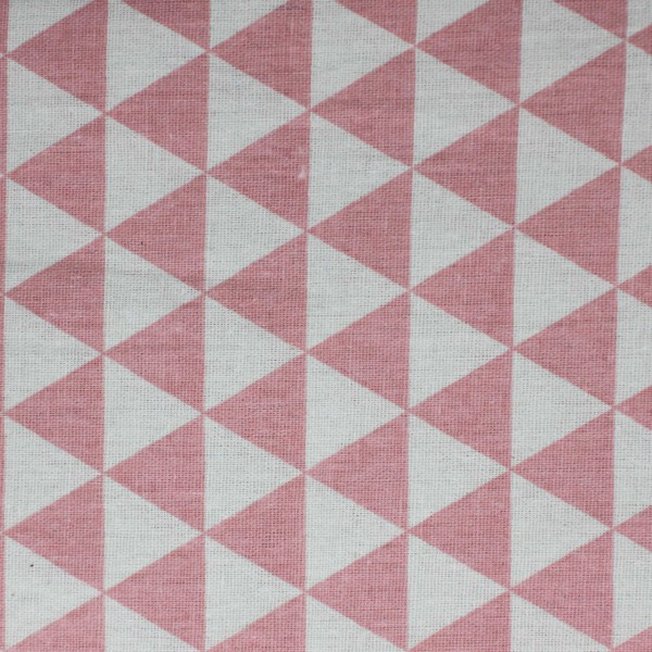 Stoffa Stampata Triangoli Rosa 100x150cm