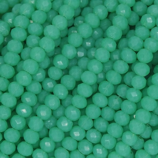 Fire Polished faceted flat round 4x3mm FERN GREEN