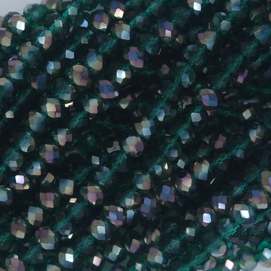 Rondelle in Cristallo Sfaccettato 4x3mm SILVER GREEN