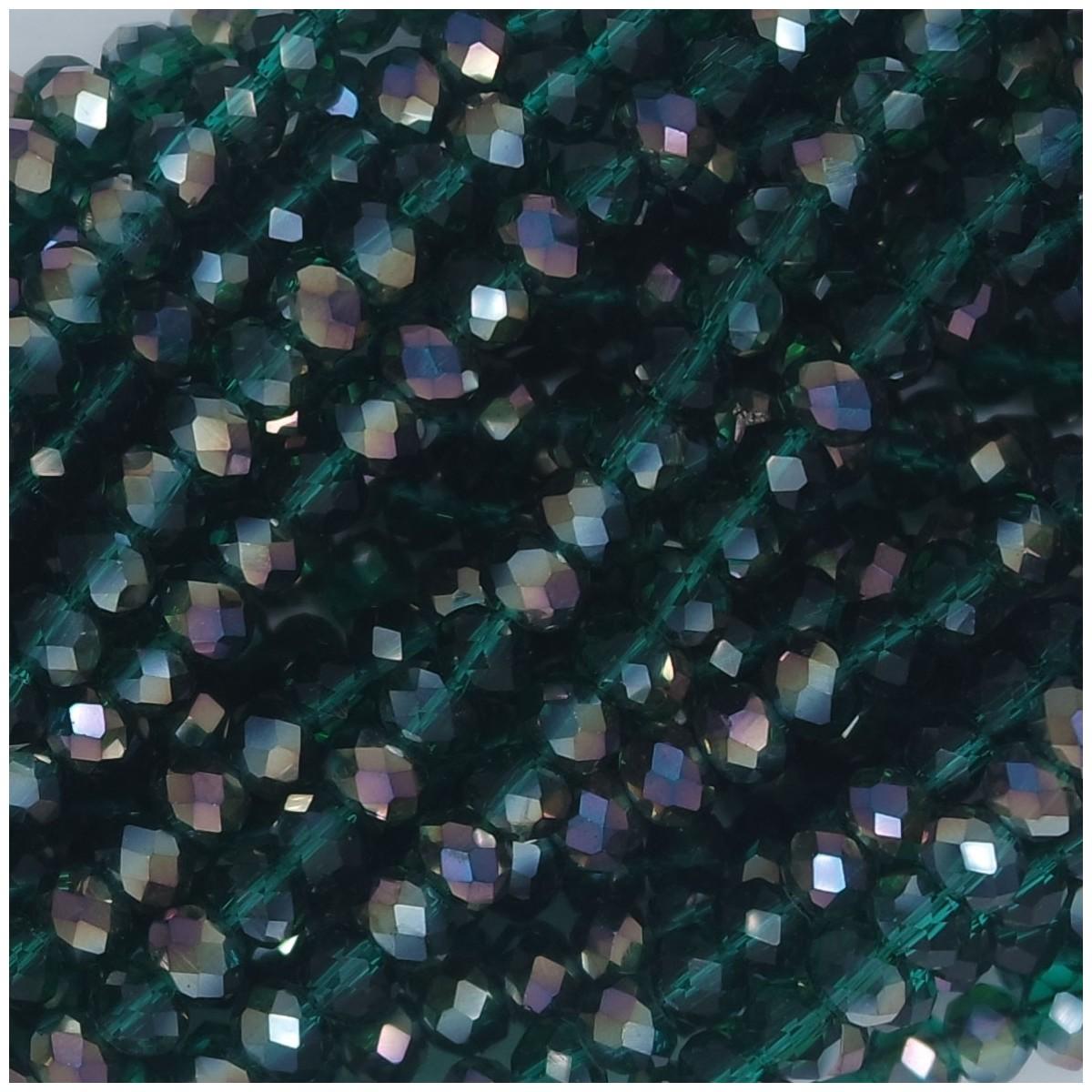 Rondelle in Cristallo Sfaccettato 4x3mm SILVER GREEN
