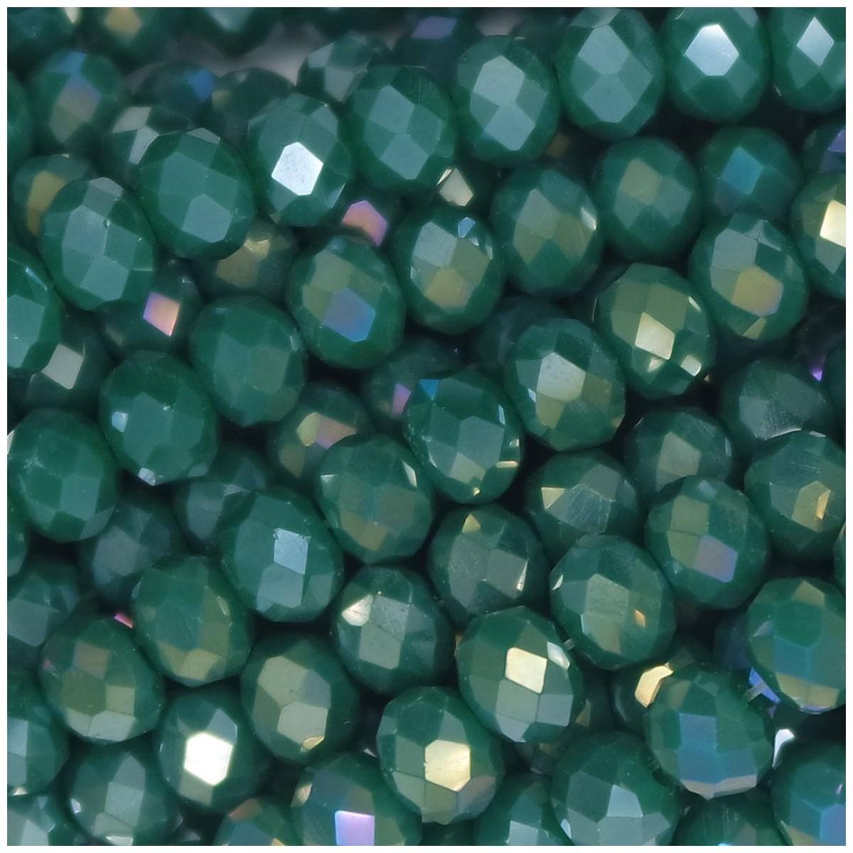 Rondelle in Cristallo Sfaccettato 6x4mm FERN GREEN