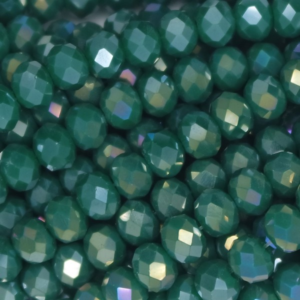 Rondelle in Cristallo Sfaccettato 6x4mm FERN GREEN